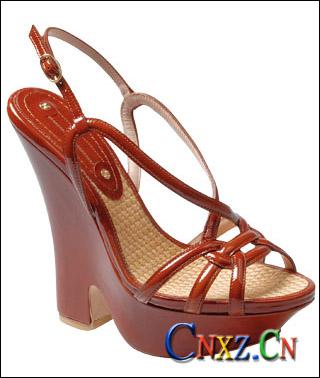 栗红色厚底鞋