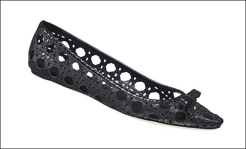 零高度优雅,Dior 2011春夏藤格纹平底鞋