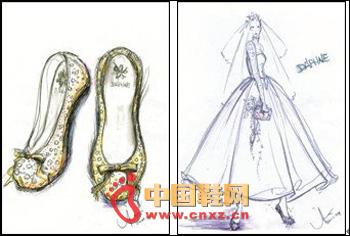 婚鞋婚纱手绘图; selina再发婚纱照