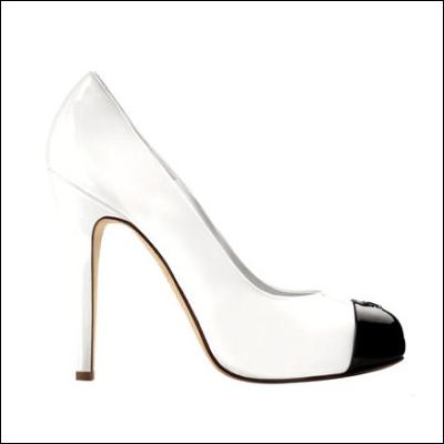 黑白拼接高跟鞋