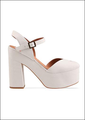纯白色粗跟复古鞋款-Wildfox x Jeffrey Campbell 春夏系列 防水台美鞋
