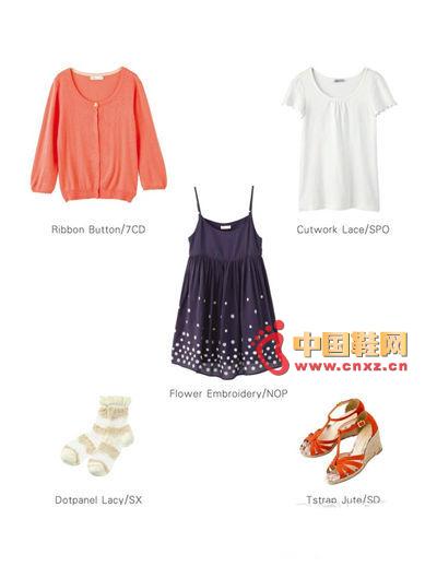 连衣裙+蕾丝袖打底t+t字编织坡跟凉鞋+复古蕾丝花边
